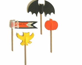 Halloween Cup Cake Toppers,Halloween Treat Toppers,Bat Topper,Owl Toppers Pumpkin Toppers,Halloween Cupcake Toppers, Halloween Decorations