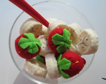 Felt food play fruit set  children (slices of banana and strawberries)