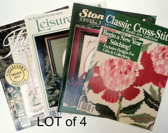 4 Vintage Needlework Magazines: DIY Embroidery Patterns Retro Cross Stitch Crochet Charts Needle Arts Flower Ribbon Work Craft Instructions