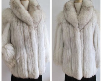 Jacket Saga Fox Silver Fox Shawl Collar Size S  Vintage Boho Chic Made in Canada
