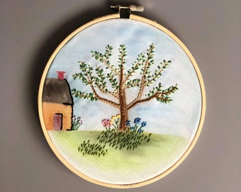 """Watercolour Embroidered Garden Scene - 6"""" Embroidery Hoop Art - Gift/Home Decor"""