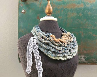 Bustle Collar in Aqua, Blue, Tan from the Wild West Series - Wearable Fiber Art