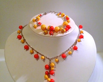 Yellow and Orange Beaded Necklace and Bracelet Set Vintage