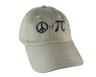Piece of Pie Peace of Pi Math Pun Embroidery Adjustable Khaki Green Unstructured Classic Baseball Cap + Option to Personalize the Back