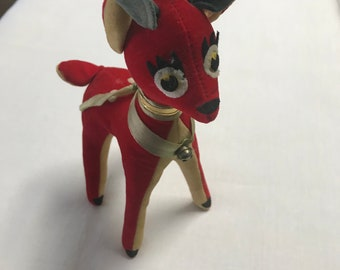 Vintage Velveteen Reindeer, 1970, Made in Japan