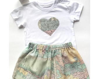 Conjunto falda y camiseta. Falda niña. Falda bebe. Conjuntos para niñas. Ropa bebe. Camiseta y falda niñas. vestidos niñas.
