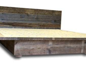 Reclaimed Wood Platform Bed with Waterfall Headboard Extended Overhang over Concealed Storage drawers