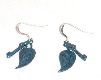 Verdigris Key and Leaf Earrings