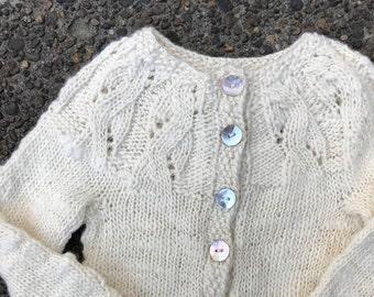 Natural Handspun Wool Baby Cardigan