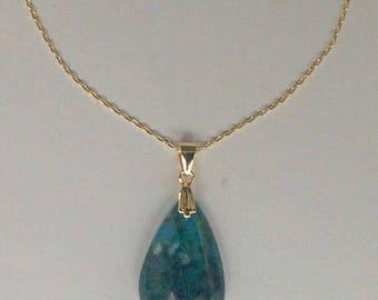 Genuine Chrysocolla Necklace, Throat & Heart Chakra Stone Necklace, Natural Blue Chrysocolla Stone Necklace, Chrysocolla Jewelry