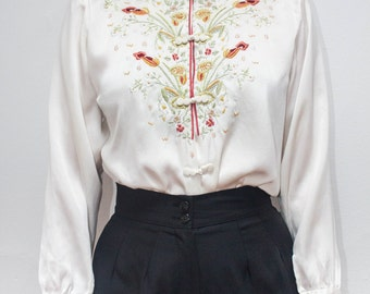 Asian Chinese Mandarin Collar Silk Blouse Shirt Top Floral Long Sleeve Vintage White Red Piping Small
