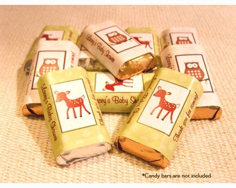 Woodland Deer and Woodland Owl Candy Wrapper Stickers, Personalized Hershey Miniature Stickers