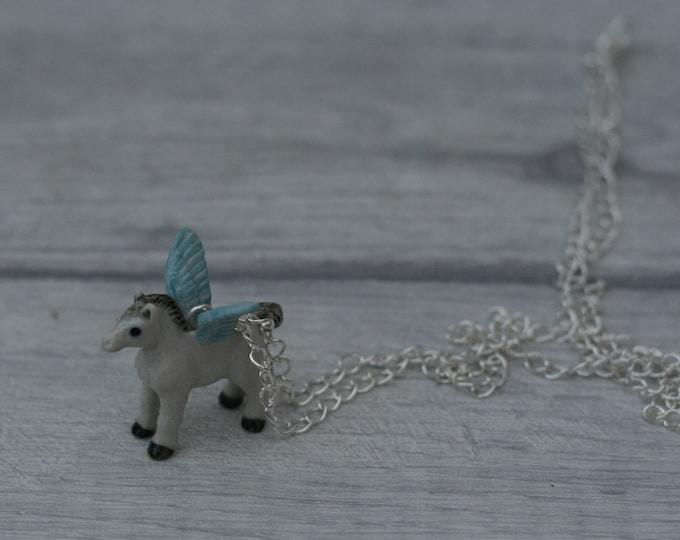 Porcelain Pegasus Necklace, Winged Horse Necklace, Animal Necklace