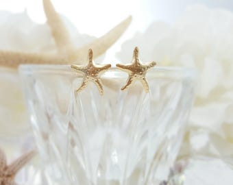 Gold Starfish Earrings - Starfish Studs - Beach Bridesmaid Ask Gift - Beach Wedding Jewelry - Star Fish Beach Bridal Jewelry Gold E5522