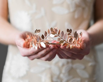 Laurel Leaf Tiara, Rose Gold Tiara, bridal tiara, Leaf crown, rose gold headpiece, Rose Gold crown, bridal headpiece, leaf headband #101