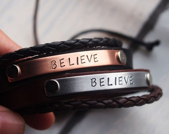 Leather bracelet Personalized bracelet, customized bracelet, Anniversary gift for him, Couples bracelet, Boyfriend girlfriend bracelets