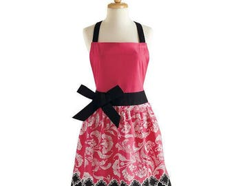 Personalized Pink and Black Floral Apron