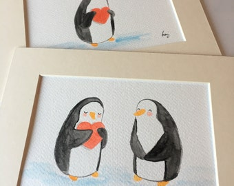 Lovely penguin (watercoloured doodle with mount)