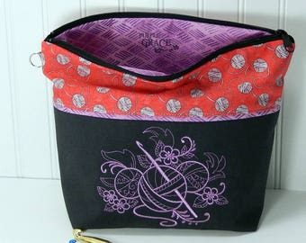 Crochet project bag, small work in progress, gift for crocheter knitter, crochet gift, small crochet bag, crochet wip