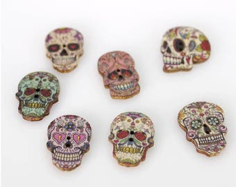 "30 PC Painted wood buttons 26mm - Wooden Buttons ,tree buttons, natural wood buttons ""skeleton"" A044"