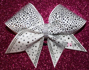 STUNNING White  full out  rhinestone cheer bow by FunBows ! - Customize This !