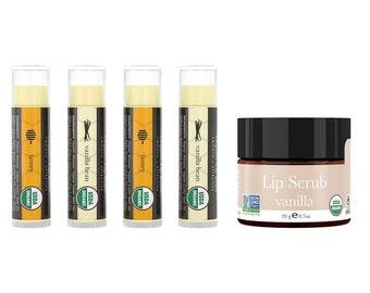 Lip Balm and Scrub Bundle - USDA Certified Organic Lip balm with Exfoliating Sugar Scrub. Vanilla & Honey Flavor 4 pack