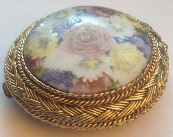Vintage Max Factor Powder Compact Floral Fresco