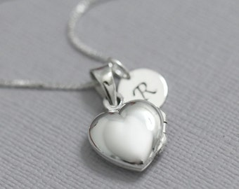 Personalized Heart Locket Necklace, Sterling Silver Heart Locket Necklace, Sterling Silver Heart Necklace, Initial Necklace, Girlfriend Gift