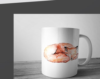 Sleeping fox Coffee mug, ceramic mug, cute fox mug
