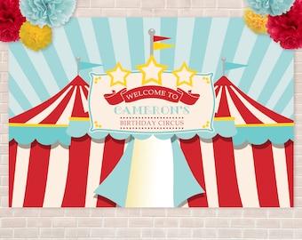"Printed Circus/Carnival Vinyl Backdrop- 48"" x 72"", Birthday, Circus Tent Backdrop, School Carnival, Church Carnival, Printed Vinyl Backdrop"
