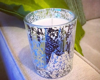 premium candle in soft linen