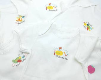 Set of 3 white bodies with small cute designs