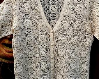 Vintage 1960's Hand Crochet Natural Sweater, Crochet Lace Sweater, 60's Crochet Sweater, Crochet Bridal Sweater, Boho Chic, Mod