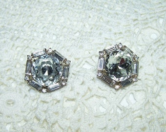 Large Vintage Rhinestone Statement Post Earrings Crystal Hard to Find Large Glass Rhinestones Emerald Cut Art Deco Style