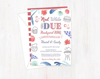 baby shower cards, printed invitations, printed baby shower invites, Red White DUE baby shower invites, red white blue, military baby shower