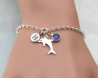 Personalised Sterling Silver Dolphin Charm Bracelet For Women, Animal Charm Bracelets, Dolphin Jewellery, Unique Jewellery Gifts