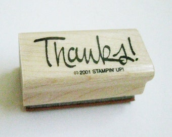 Thank You Rubber Stamp Quotation Craft Stamp Thanks Stampin Up Carved Rubber Wood Mount Destash Card Making Stamping Supply Craft Stamp