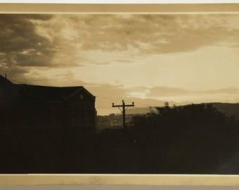 "Vintage Photo ""Sunset Silhouette"" Snapshot Antique Black & White Photograph Paper Found Ephemera Vernacular Interior Design Mood - 184"
