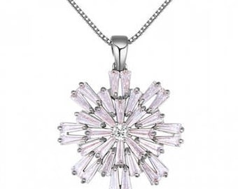 Beautiful White Gold Plated Necklace with Cubic Zirconia