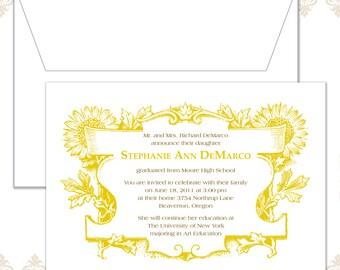 Sunflower Graduation Announcement Invitation
