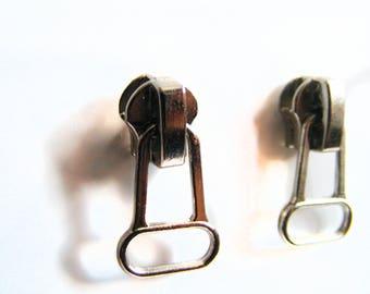 Silver Color Metal Zipper Earrings - Rocker Stud  Earrings