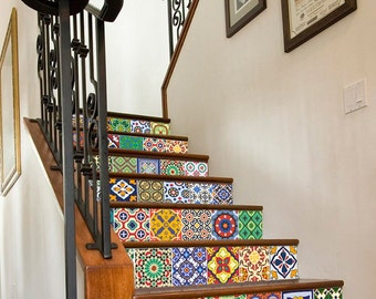 Talavera Tiles - Staircase - Tile Decals - Tile Sticker - Stair Riser - Wall Tiles - Kitchen Tiles - Bathroom - Pack of 24 - SKU:StTal