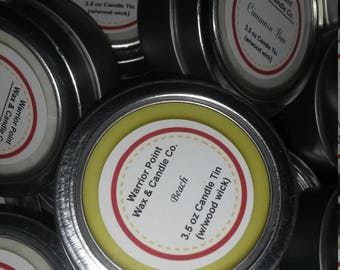 3.5 Oz Candle with Wood Wick (in Small Tin with Lid)