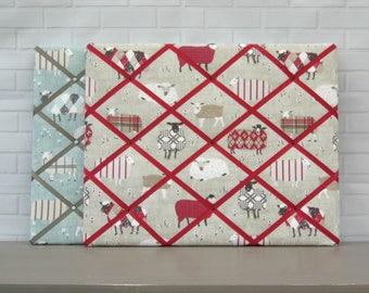 Sheep memo board, fabric notice board, bulletin board, contemporary sheep print, red or blue colourways, 40 x 50 cm, handmade