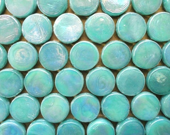20mm Teal Aquamarine Penny Round Iridescent Glass Mosaic Tiles/Mosaic Pieces/Mosaic Supplies/Craft/Jewelry Supply