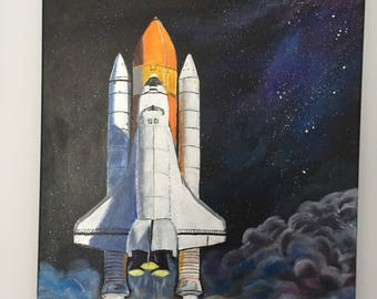 Shuttle on the way to outer space , acrylic painting , rocket ship , space machine , contemporary art , wall art
