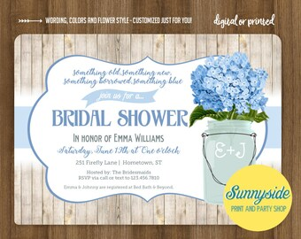 Something Blue rustic mason jar shower invitation, bridal shower or wedding shower with blue hydrangeas, printable or printed