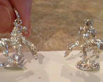 Sterling Silver End of the Trail Horse and Rider Charm