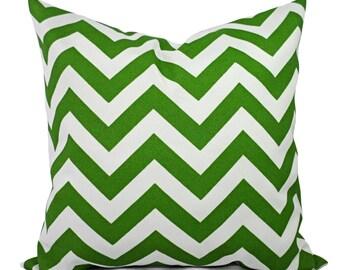 Two Outdoor Chevron Pillow Covers - 20 x 20 Pillow Cover - 18x18 Pillow Cover - 16x16 Pillow - Patio Pillow - Green Pillow - Outdoor Pillows