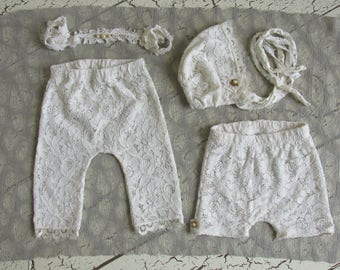 4 piece vanilla white lace set - handmade newborn photography prop